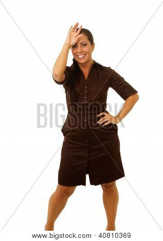 Business Woman With Hand On Forehead Smiling