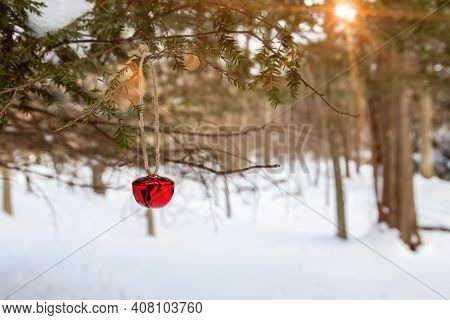 Jingle bell on tree with winter landscape in background