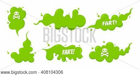 Smelling Green Cartoon Fart Cloud Flat Style Design Vector Illustration With Text Fart Set. Bad Stin