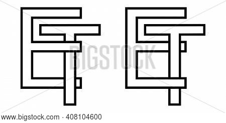 Logo Sign Et Te Icon Sign Interlaced Letters T, E Vector Logo Et, Te First Capital Letters Pattern A