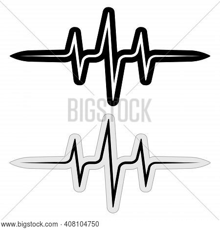 Sign Sticker Music Pulse Frequency Vector Wave Sound, Abstract Techno Rave Sticks, Heartbeat Cardio