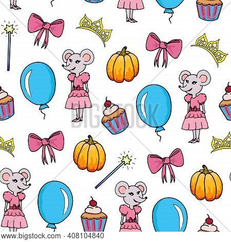 Seamless Pattern For Girls. Magic Wand, Bow, Mouse In Dress, Pumpkin, Balloon, Cupcake And Diadem On