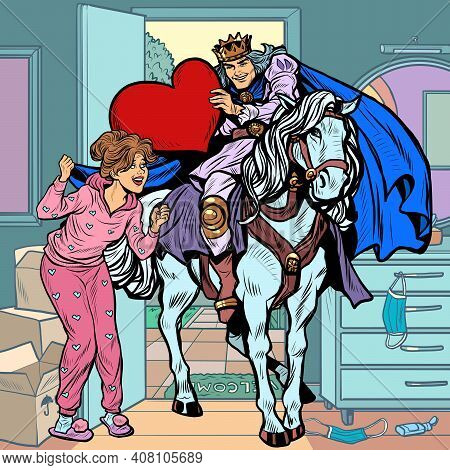 Valentines Day. A Prince In Love On A White Horse Galloped To A Beautiful Woman. Pop Art Retro Vecto