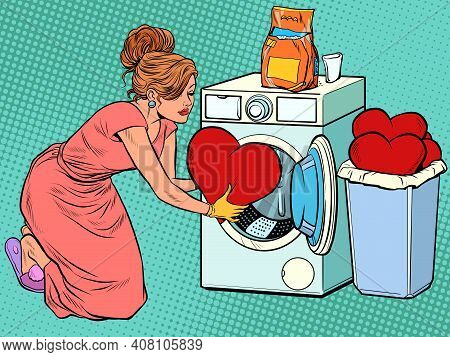 Beautiful Woman Washes A Red Heart. Valentines Day. Pop Art Retro Vector Illustration Vintage Kitsch