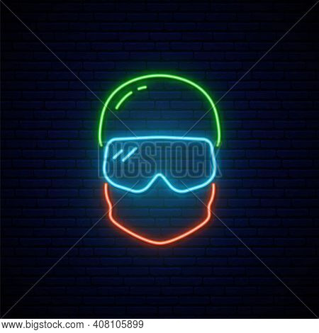 Neon Snowboarder Icon. Glowing Snowboarder In Hat And Mask. Winter Sport Emblem. Vector Illustration