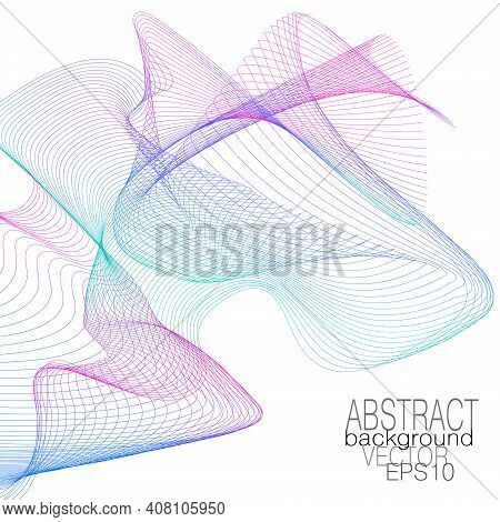Magenta, Teal, Blue Flying Net. Dynamic Veil Pattern, Color Gradient. Thin Squiggle Curves. Wavy Lin