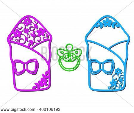 Openwork Envelopes For Newborns With A Bow And A Dummy For Cutting.