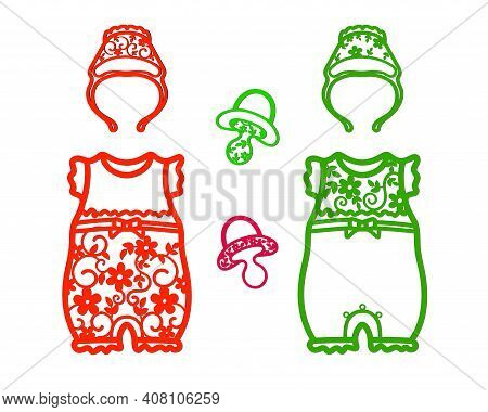 Openwork Stencils Bodysuits, Hats And Pacifiers For Girls With Symmetrical Patterns.
