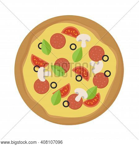 Fresh Pizza With Tomato, Cheese, Olive, Sausage, Mushroom And Basil. Top View Of Traditional Italian
