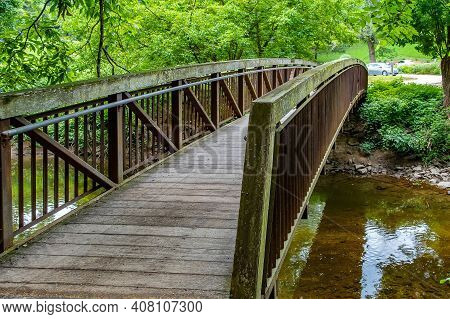 The Old Pedestrian Bridge Park Forest Water Green Trees