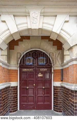 London, Uk, April 2014 - Doors To The Coroners Court In The City Of London, Uk