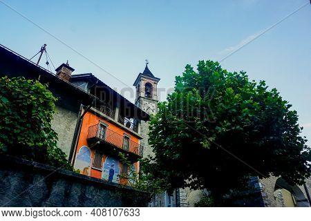 Avegno, Ticino, Switzerland - Houses Surrounding The Church Santi Luca E Abbondio
