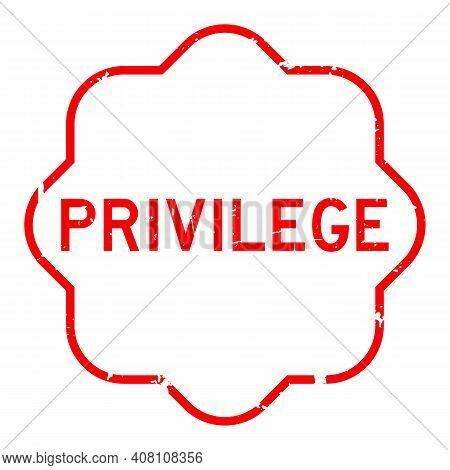 Grunge Red Privilege Word Rubber Seal Stamp On White Background