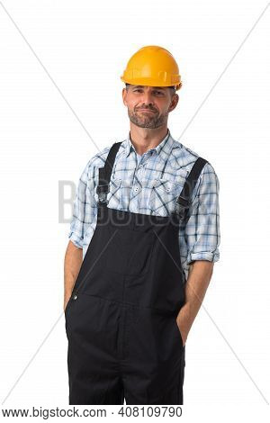 Portrait Of A Workman In Coveralls And Hardhat Isolated On White Background