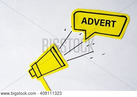Megaphone With Speech Bubble. Word Advert . Speaker. Banner For Business, Marketing And Advertising.