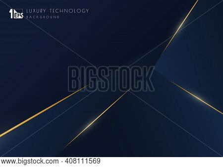 Abstract Luxury Blue Tech Template Design With Gold Glitters Template. Overlapping Style Of Artwork