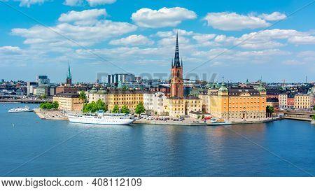 Riddarholm Church Over Stockholm Old Town (gamla Stan), Sweden