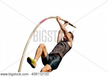 Athlete Pole Vaulter Isolated On White Background