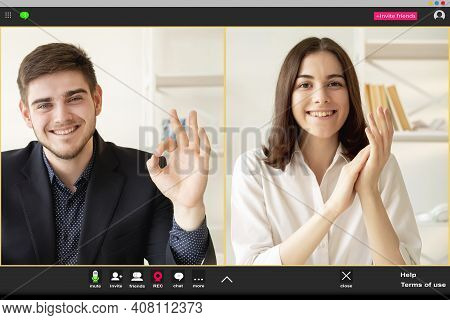 Online Chat. Web Conference. Business Telecommuting. Remote Cooperation. Cheerful Business Partners