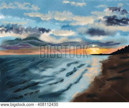 Colorful Sunset At The Sea Coast. Seascape Evening View. Hand Drawn Watercolor Illustration.