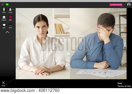 Video Conference. Online Interview. Internet Meeting. Corporate Telecommuting. Dissatisfied Female E