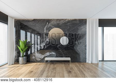 Wooden And Black Marble Living Room, White Bench Under Round Mirrors, Wooden Parquet Floor. Large Pa
