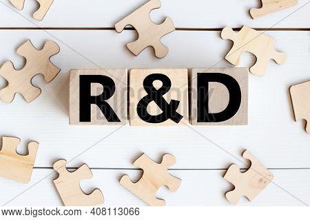 R D . Research Development, Business, Finance Conceptual.