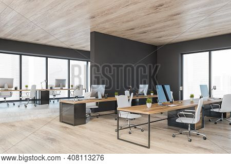 Wooden Black Office Room With Minimalist Furniture, Row Of Tables With Computers, Side View. Manager