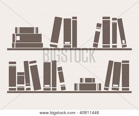 Books on the shelves simply retro vector illustration