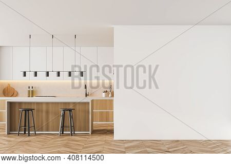 Mockup Copy Space In White And Wooden Kitchen Room With Table And Two Bar Chairs, Parquet Floor. Kit