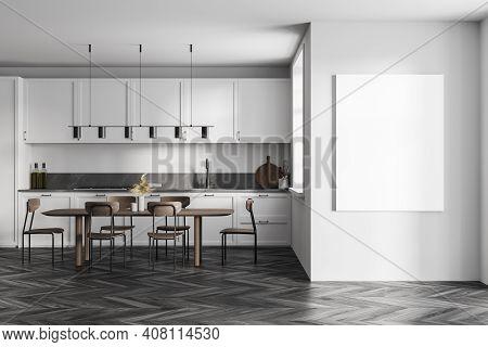 Mockup Canvas Frame In Wooden Light Kitchen Room With Green Kitchen Set On Black Parquet Floor. Eati