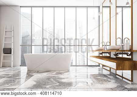 White And Wooden Bathroom With Two Sinks, White Bathtub Near Window, Front View. White Stylish Bathr