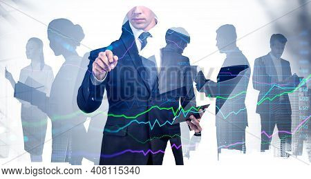 Trader Is Carrying Out A Research Of Historic Data Of Stock Market Behaviour By Pointing To Hologram