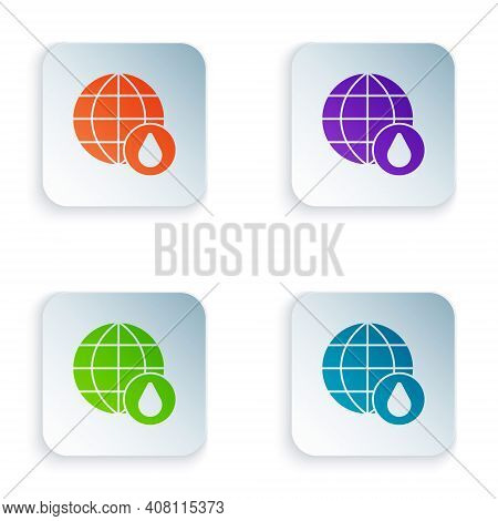 Color Earth Planet In Water Drop Icon Isolated On White Background. World Globe. Saving Water And Wo