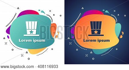 White Patriotic American Top Hat Icon Isolated On White And Blue Background. Uncle Sam Hat. American