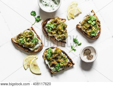 Smashed Grilled Eggplant Bruschetta With Yogurt Herbs Sauce - Delicious Appetizers, Snacks, Tapas On