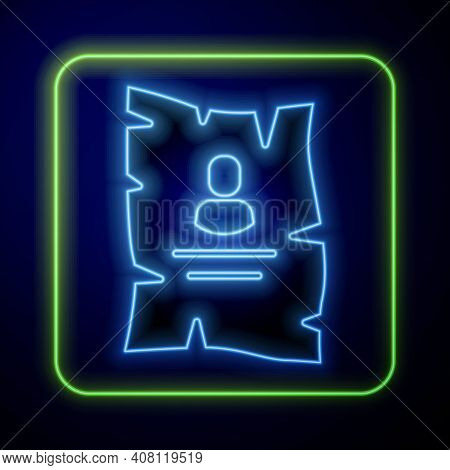 Glowing Neon Wanted Western Poster Icon Isolated On Blue Background. Reward Money. Dead Or Alive Cri
