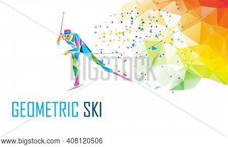 Cross Country Ski Racer Silhouette. Color Illustration Vector