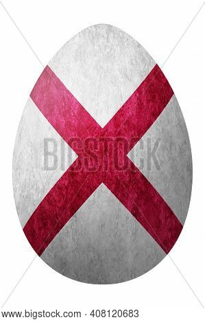 Alabama State Flag Easter Egg, Alabama Happy Easter, Clipping Path