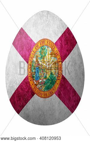 Florida State Flag Easter Egg, Florida Happy Easter, Clipping Path