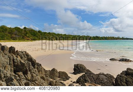 The Picturesque Caribbean Beach , Martinique Island, French West Indies.