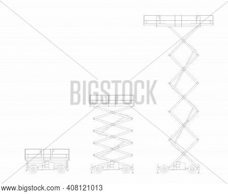 Set Of Vector Sketches Of Lifting Platform Scissors Isolated On White Background.