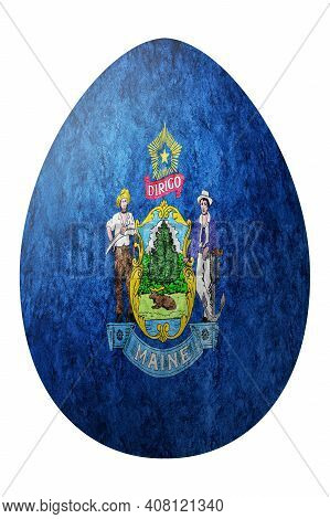 Maine State Flag Easter Egg, Maine Happy Easter, Clipping Path