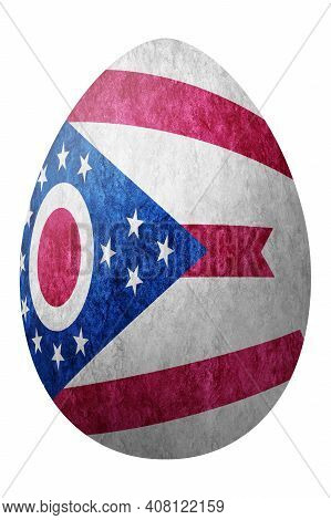 Ohio State Flag Easter Egg, Ohio Happy Easter, Clipping Path