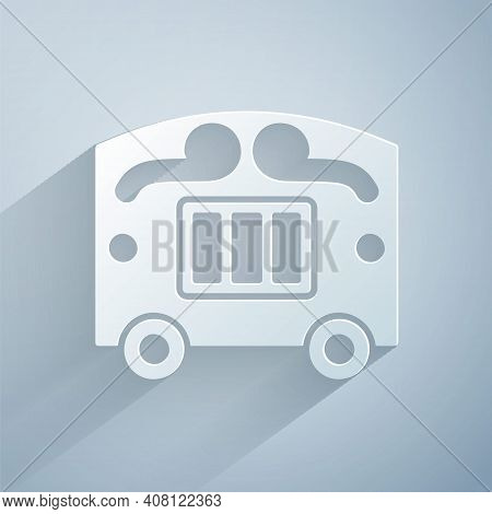 Paper Cut Circus Wagon Icon Isolated On Grey Background. Circus Trailer, Wagon Wheel. Paper Art Styl