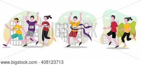 Running People Vector Cartoon Illustrations Set. Running Marathon, Winning Marathon. Man And Woman A