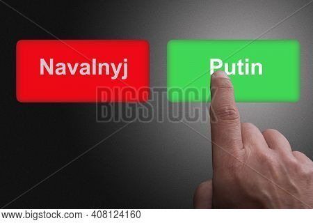 Red Button With Navalyj And Green Button With Putin