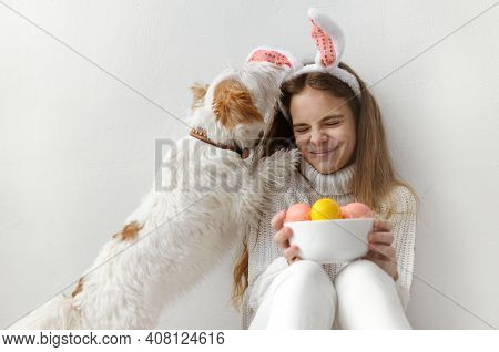 1 White Teenage Girl 10 Years Old In A White Sweater And Jeans, Rabbit Ears, With Pink And Yellow Ea