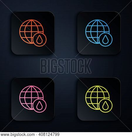 Color Neon Line Earth Planet In Water Drop Icon Isolated On Black Background. World Globe. Saving Wa