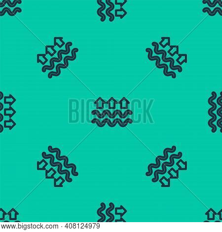 Blue Line Waves Of Water And Evaporation Icon Isolated Seamless Pattern On Green Background. Vector